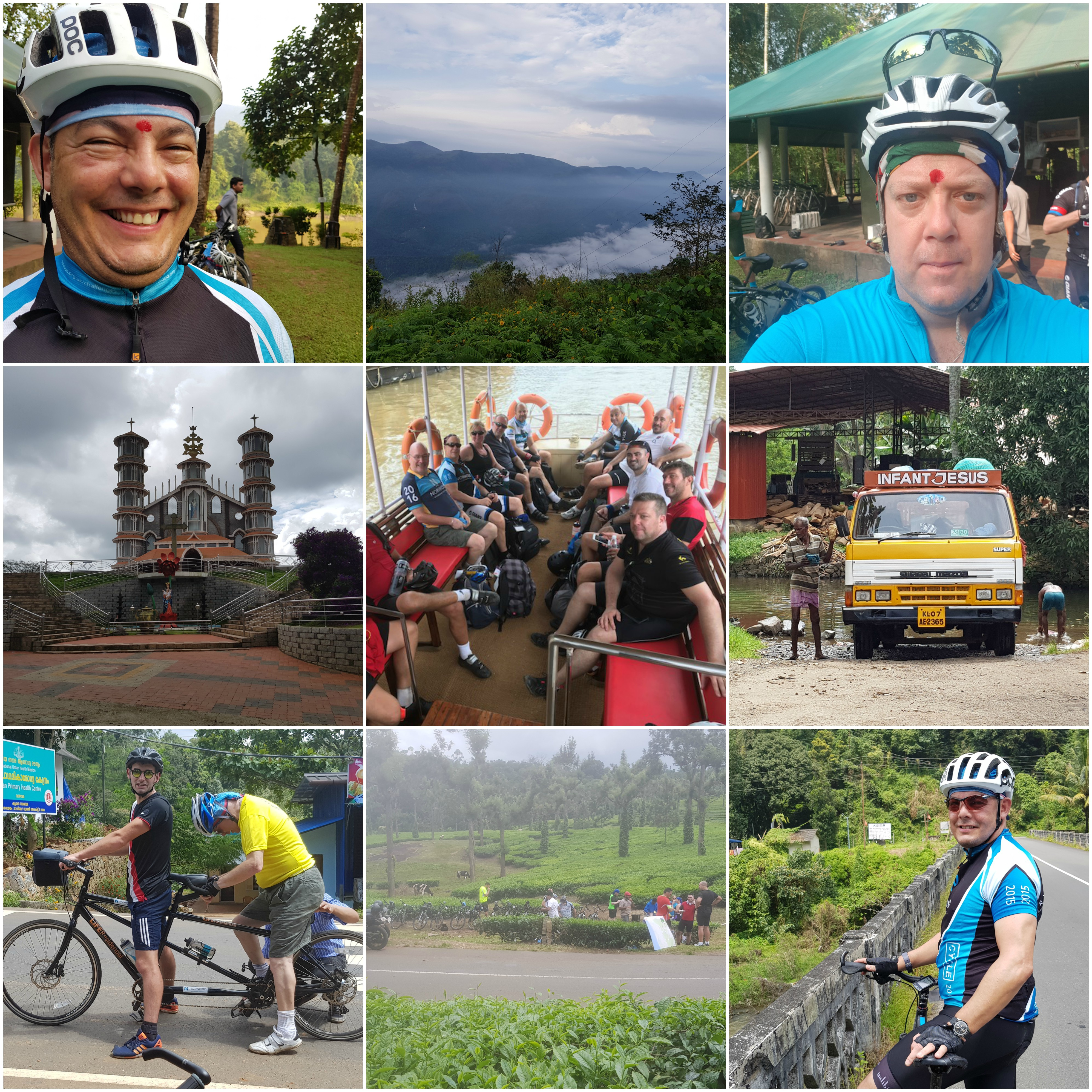 Photo collage of LiFE's director's cycling adventure in Kerala, India, to support the charity Norwood