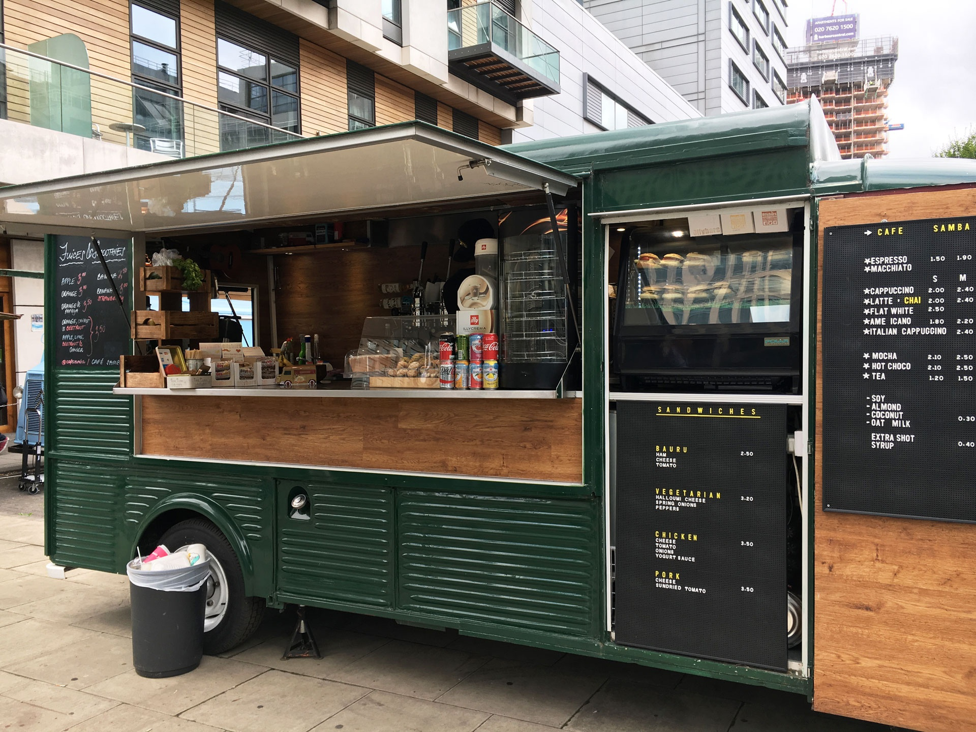 Forest Green coffee van called 'Cafe Samba'