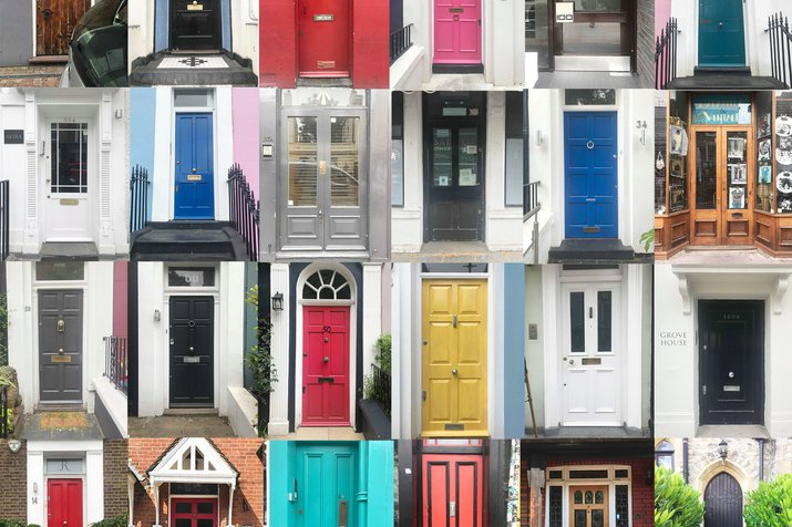 Lots of different front doors in many colours and shapes