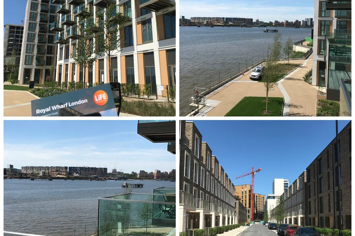 Collage of parts of Royal Wharf, featuring different property development buildings and water spaces