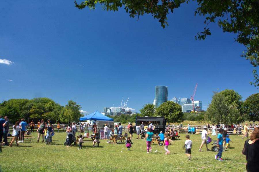 A fair at Mudchute Park and Farm in Canary Wharf