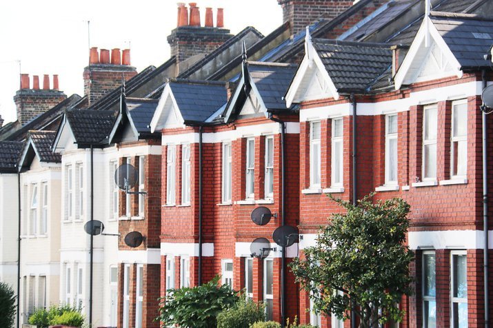 Row of terraced houses showing their roofs in Acton