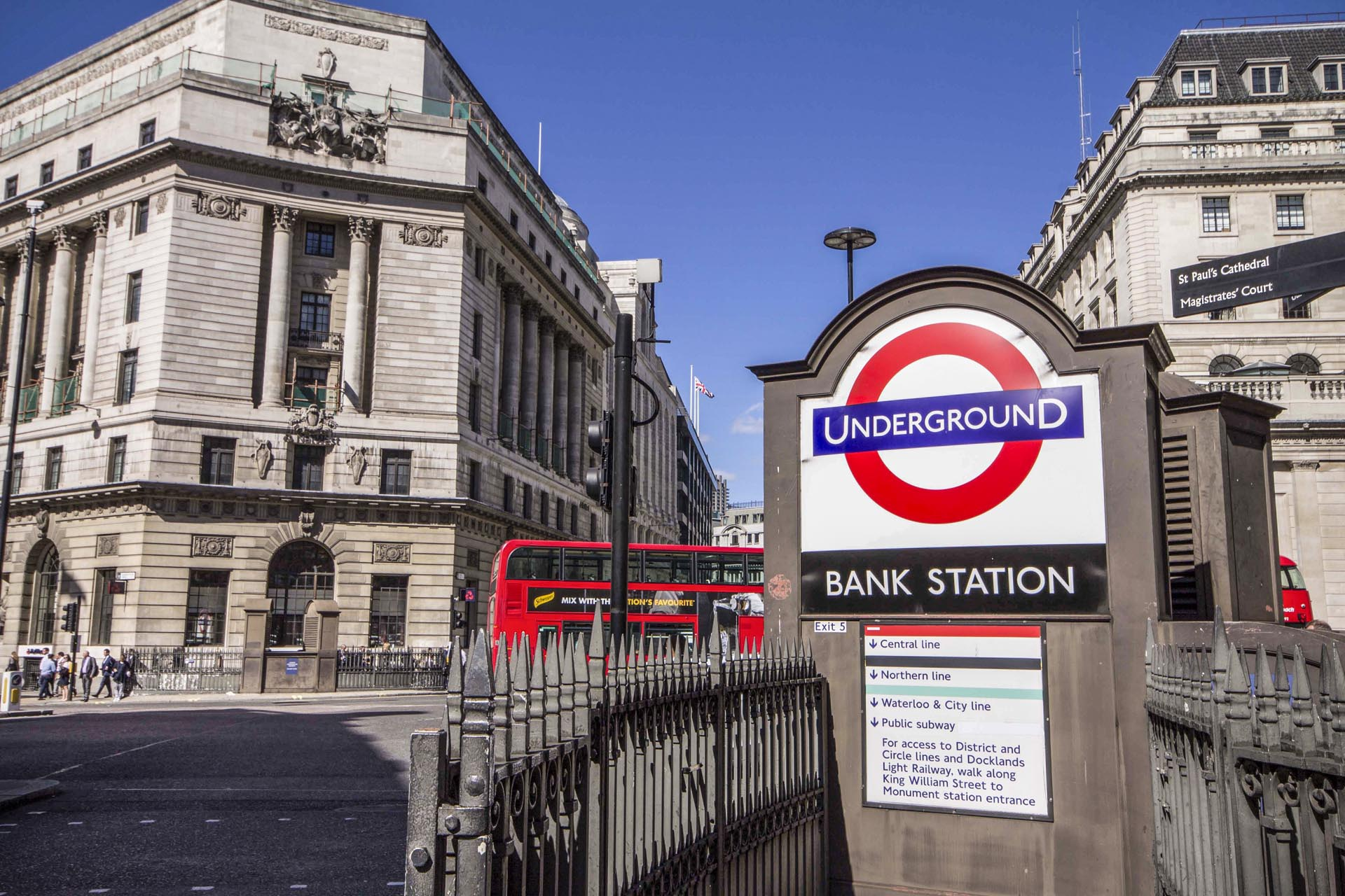 Image of outside a tube station on a sunny day