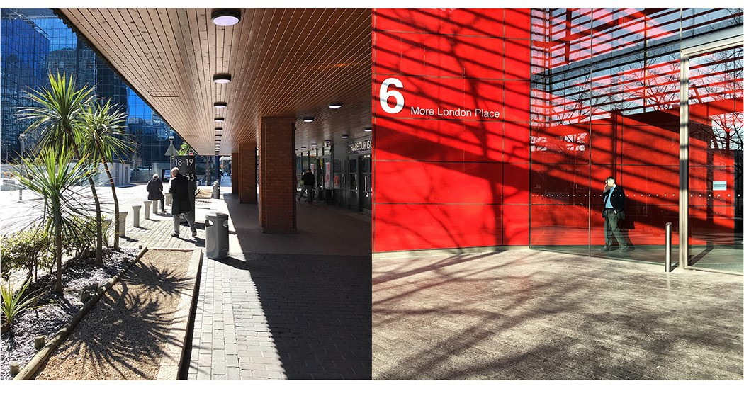 Colour in the city - red waves in sunny London