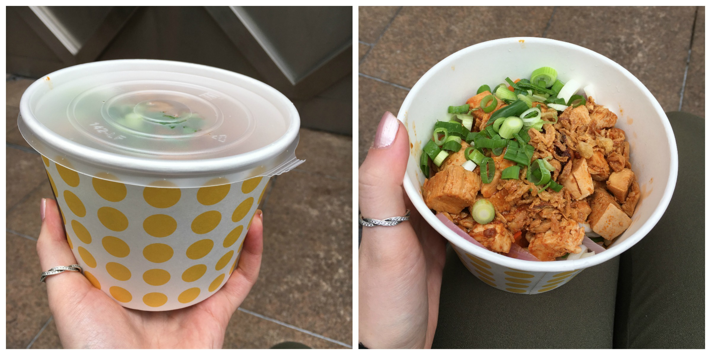 Spicy chicken noodles from 'Simply Noodles' in Canary Wharf