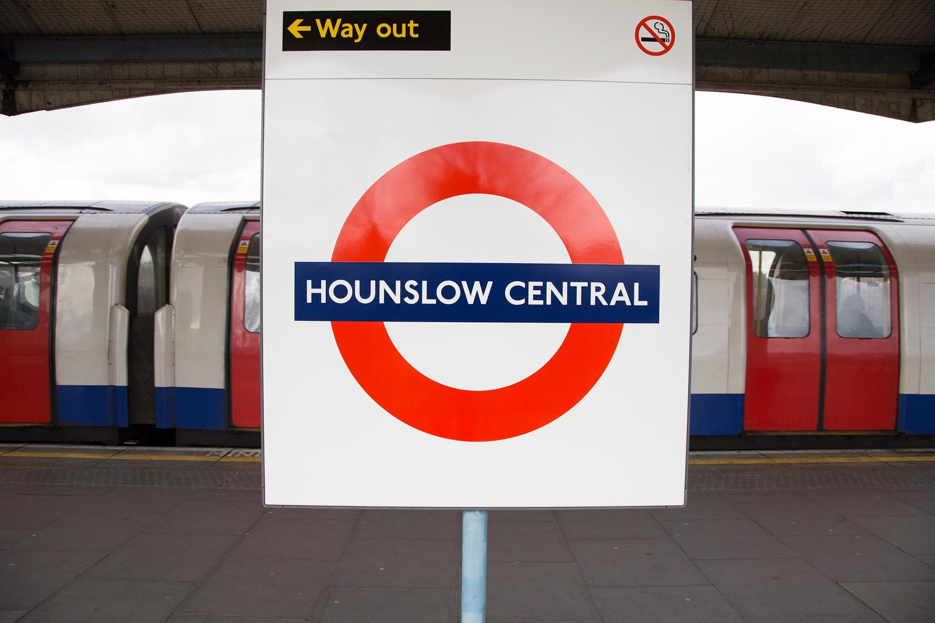 Hounslow Central tube station sign on the platform