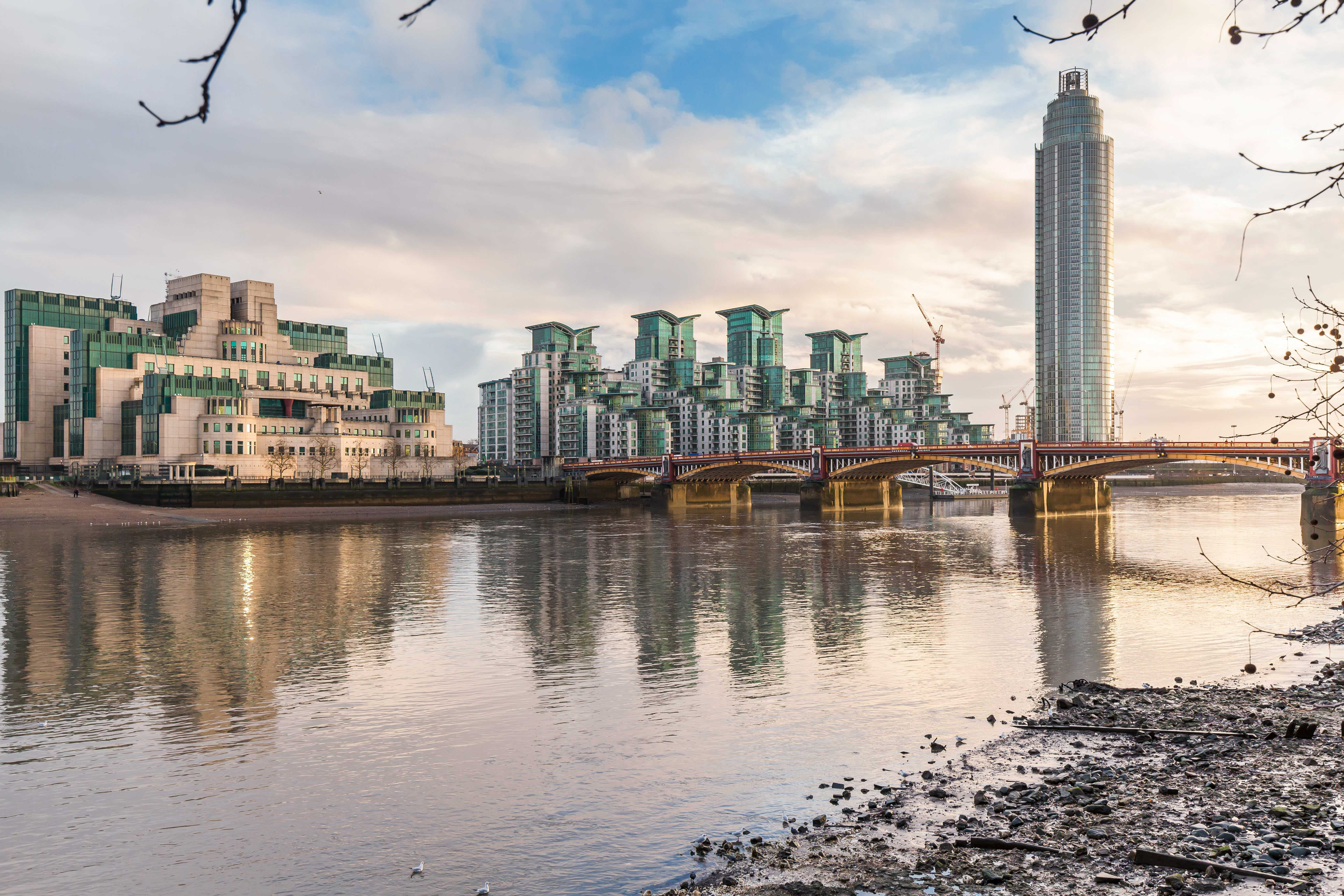 View of St George Wharf development across the river