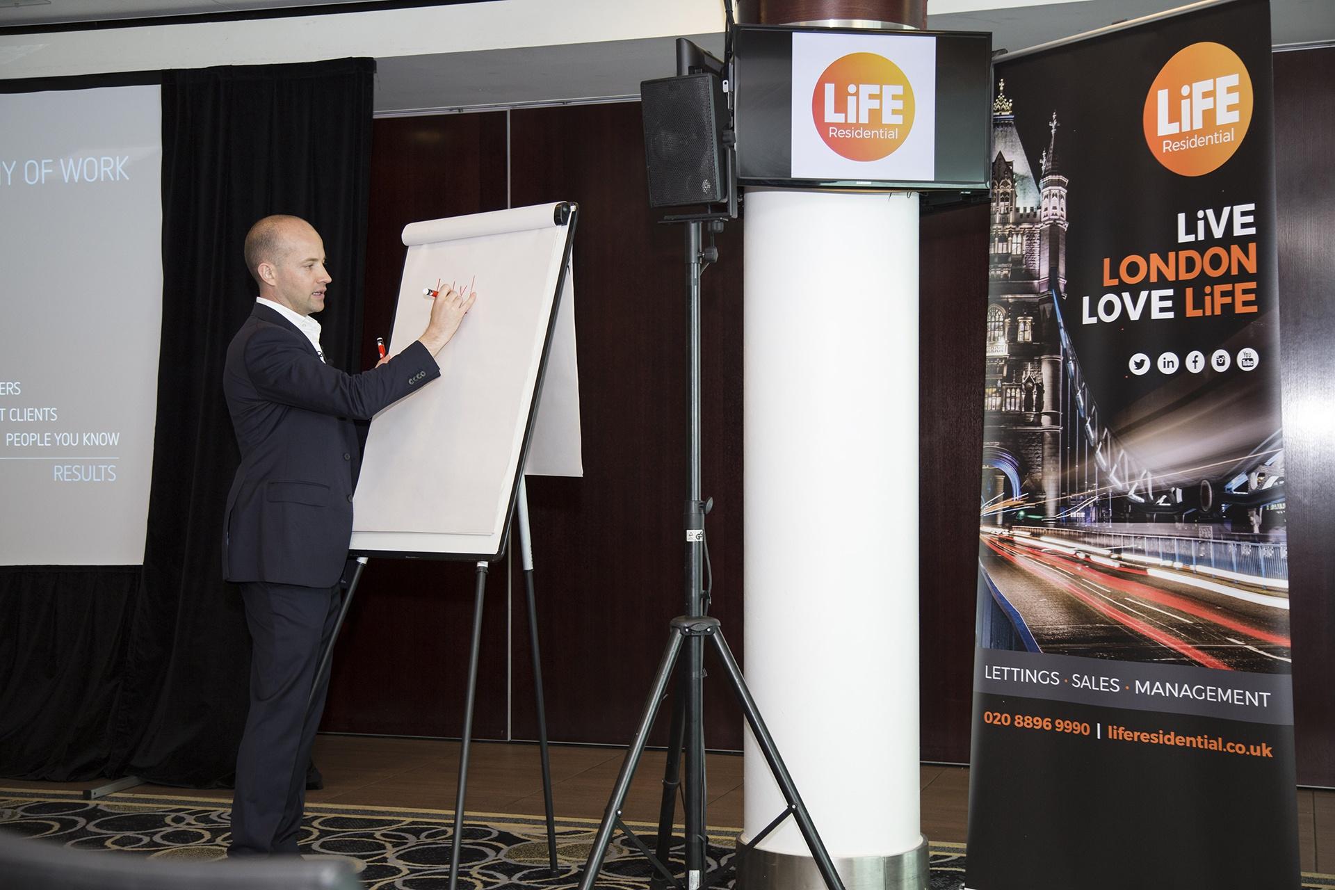 Josh Phegan writing on a flip chart when presenting