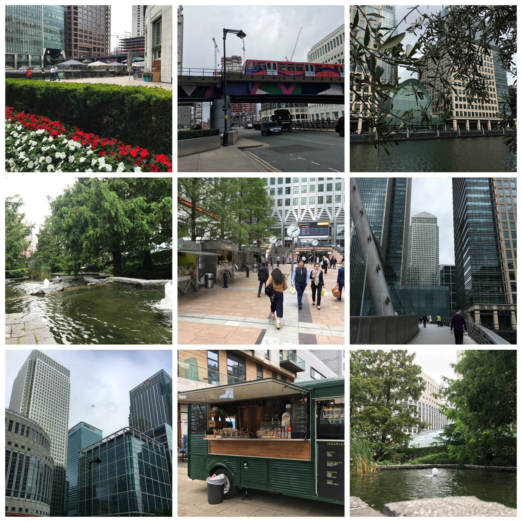Photo collage of Canary Wharf