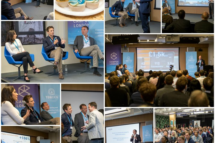 A collage of the judges, pitchers and audience at PropTechDen